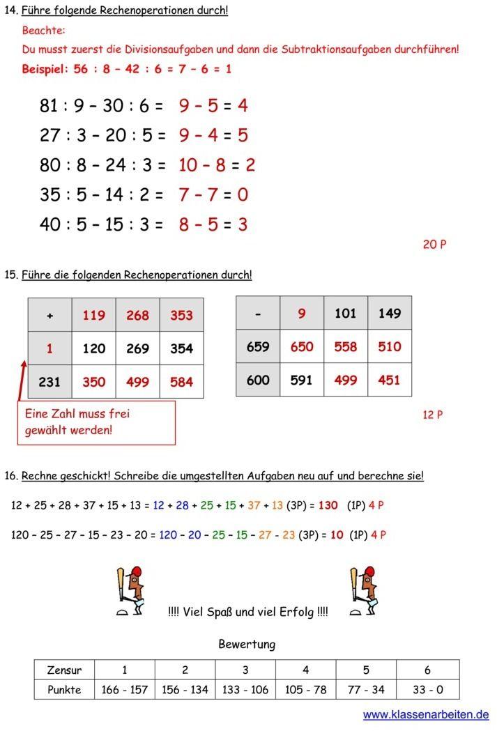 Klassenarbeit zu Zahlenraum bis 1000 | Schule | Pinterest ...