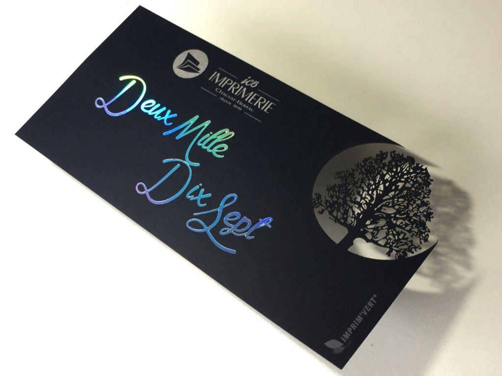 Carte De Voeux Arbre Avec Dorure Holographique Dcoupe Laser Et Impression Pantone Argent Imprimerie
