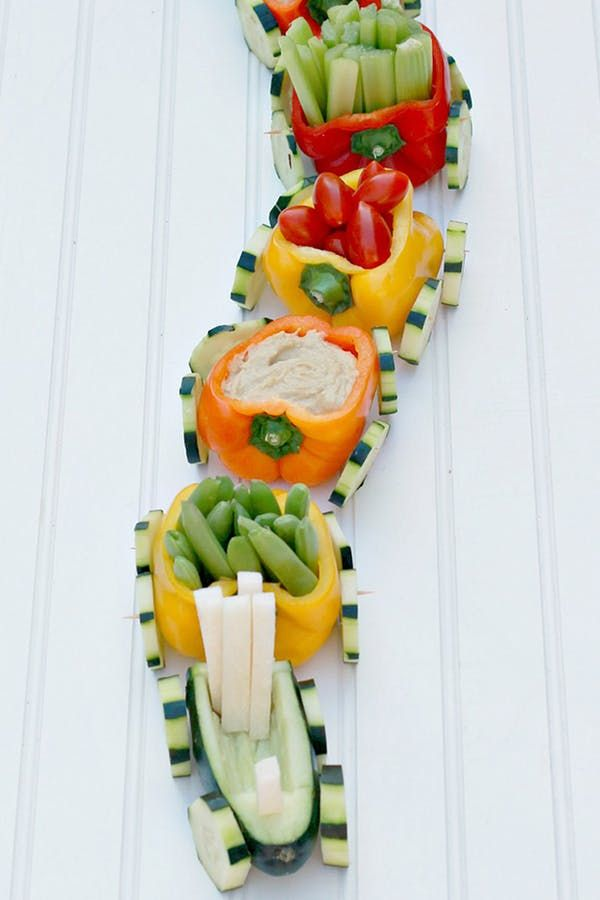 Veggie Train. 30 Best Foods to Make for Your Kid's Birthday Party  #purewow #family #cooking #recipe #easy #food #partyfood #birthdaypartyfood #kidsbrithdayideas #kids #family #veggietrain #veggies