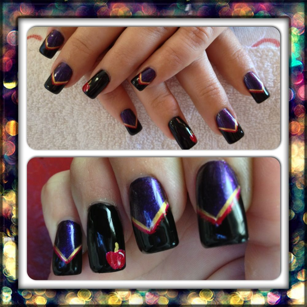 Evil Queen/Snow White inspired nails | Fairy Tale Nail Art ...