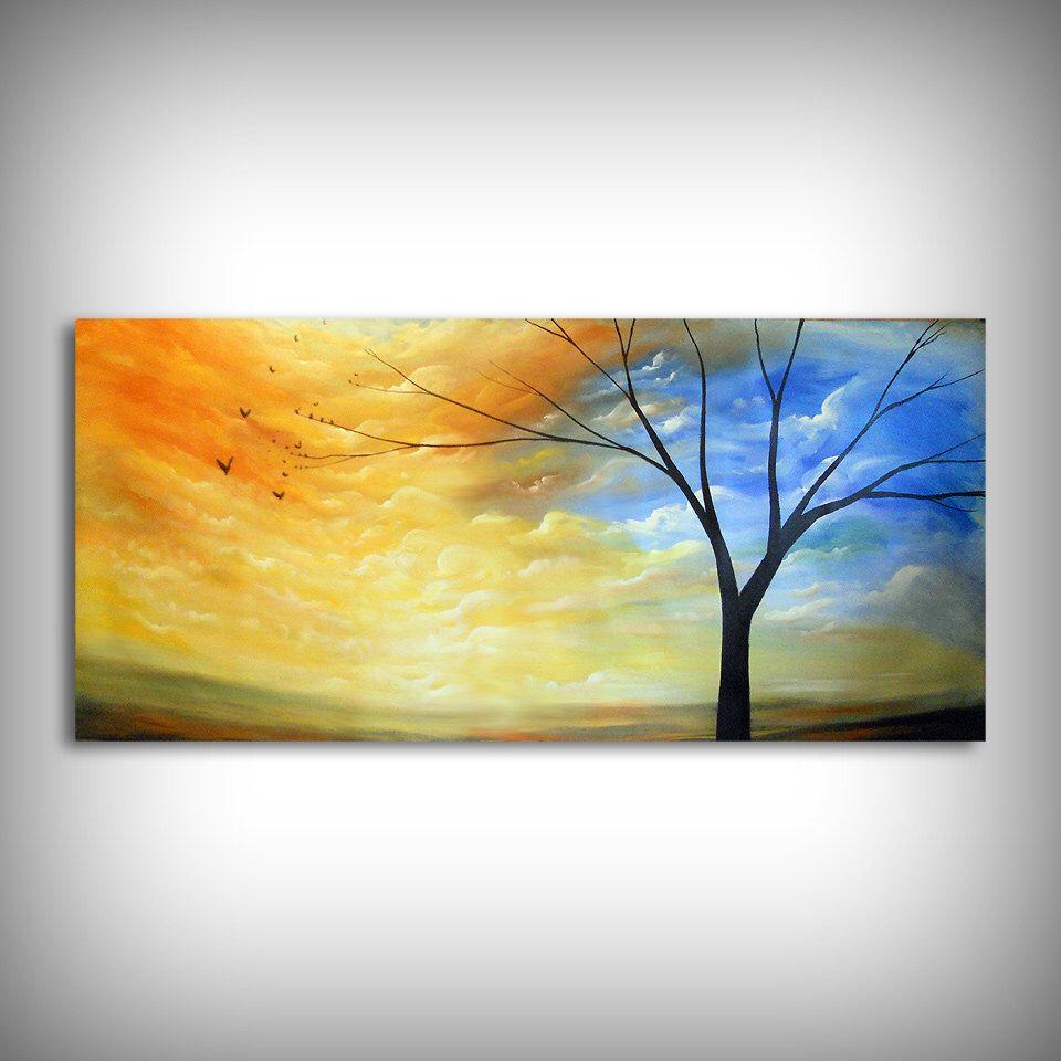 70 x 30 abstract painting large art folk original landscape HUGE ...