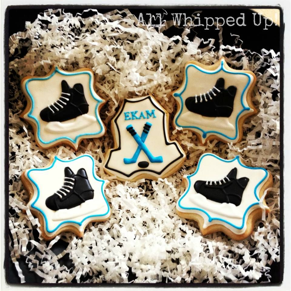 Hockey Themed Decorated Cookies From All Whipped Up Sugar Cookies Decorated Cookie Decorating Cookie Designs