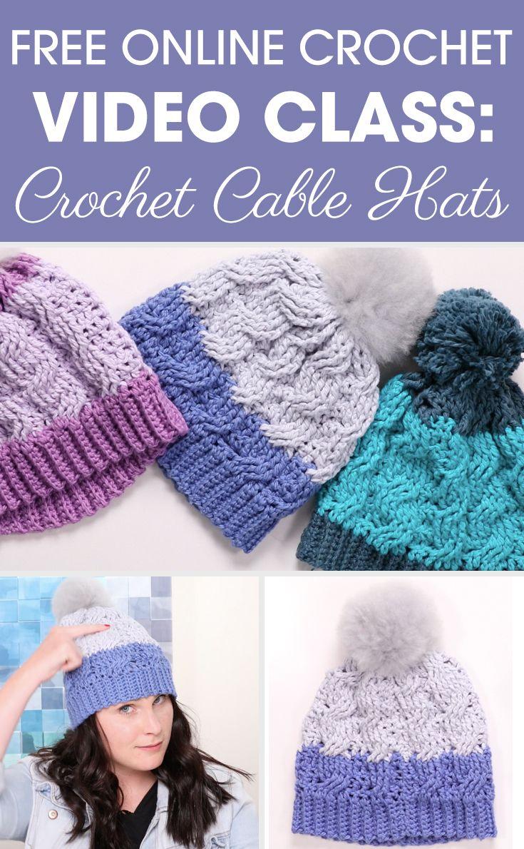 Free Online #Crochet Video Class: #CrochetCableHat | *Free crochet ...