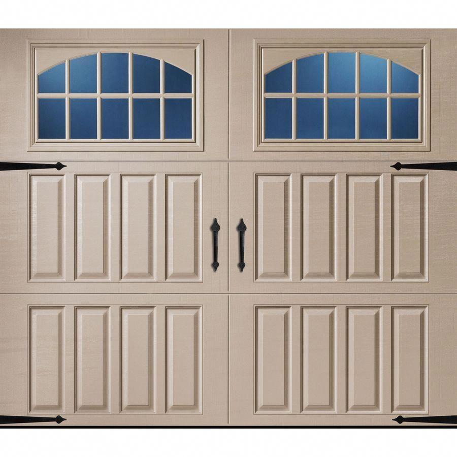 Pella Carriage House 108 In X 84 In Insulated Sandtone Single Garage Door With Windows Lowes Com In 2020 Carriage House Garage Carriage House Garage Doors Single Garage Door
