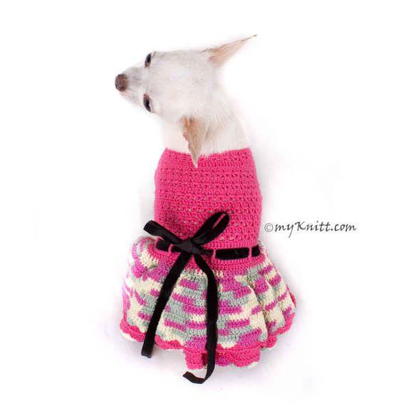 Rosa perro vestido XXS volantes faldas Chihuahua ropa gato   Perros ...