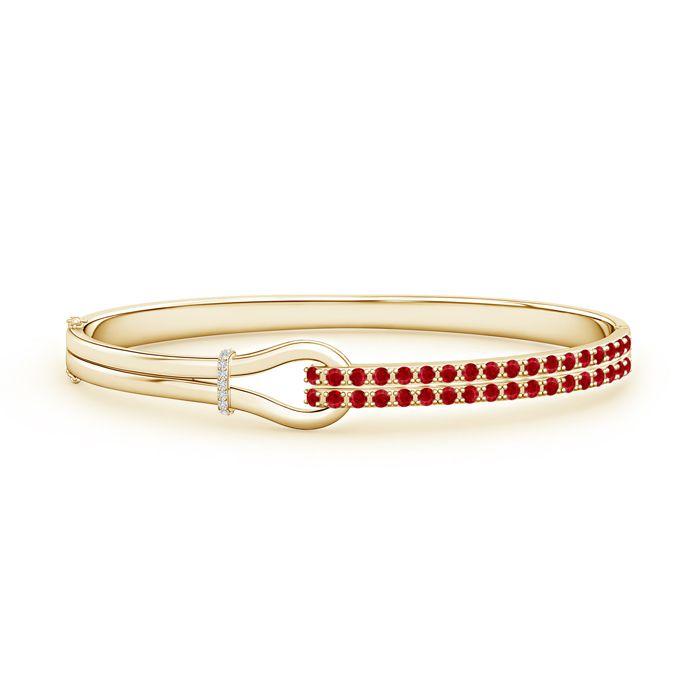 Angara S Curl Natural Ruby and Diamond Tennis Bracelet in 14k Yellow Gold CbNGl