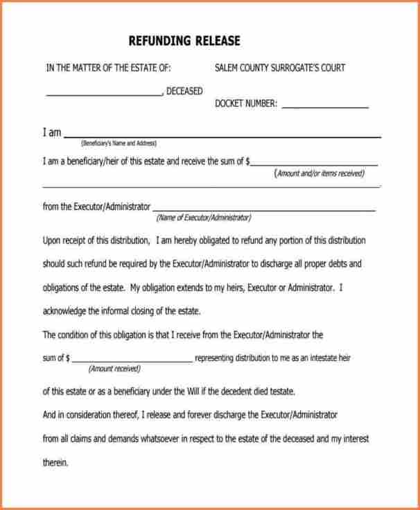 7+ estate receipt and release form   Return receipt form   estate ...