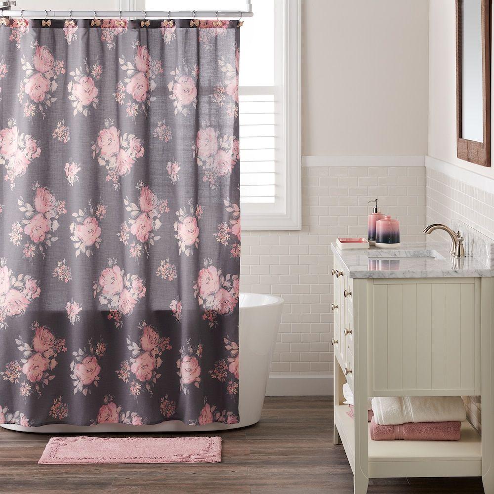 Lc Lauren Conrad Bold Blossom Shower Curtain Grey Charcoal