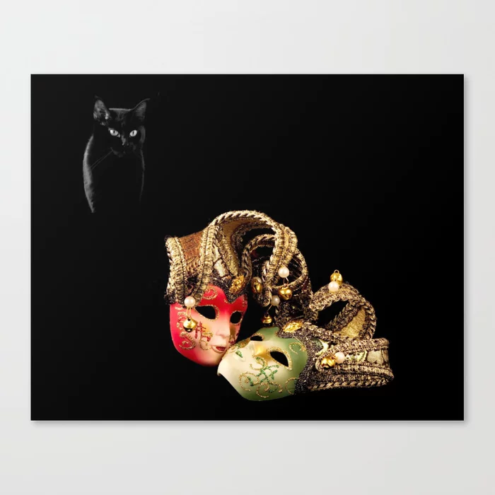 Buy Black cat and love Canvas Print by alexlyubar. Worldwide shipping available at Society6.com. Just one of millions of high quality products available.