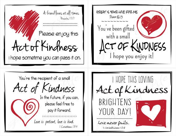 graphic regarding Kindness Cards Printable identified as Pin upon Functions OF KINDNESS