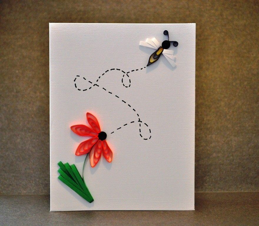 Quilling Card Making Ideas Part - 48: Bee And Flower Quilled Card. $6.50, Via Etsy. Quilling CardsQuilling IdeasPaper  ...