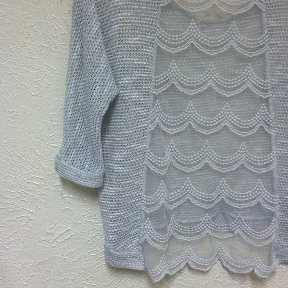 Cute Lace Top Lightweight sweater like sheer lace back top! Tops