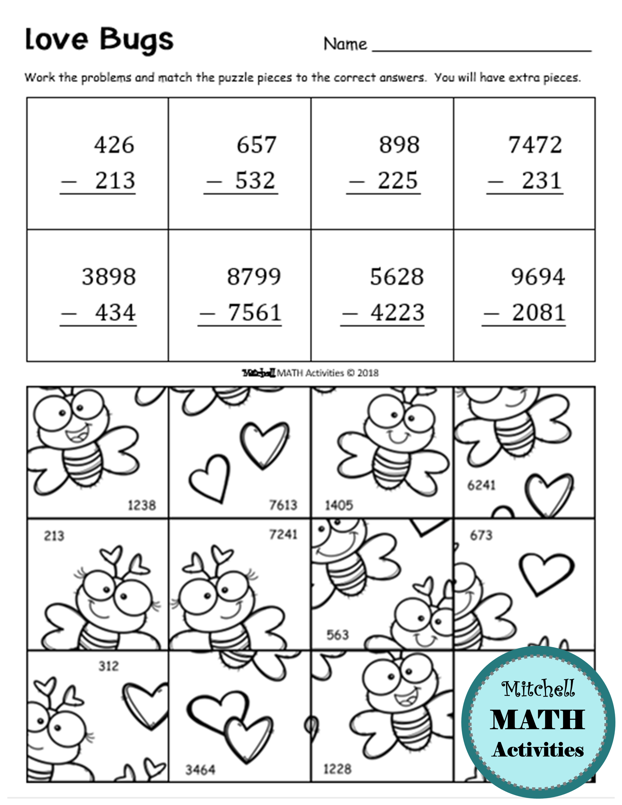 Addition And Subtraction Valentine S Day Puzzles Distance Learning Printables Addition And Subtraction Subtraction Math Valentines [ 3300 x 2550 Pixel ]
