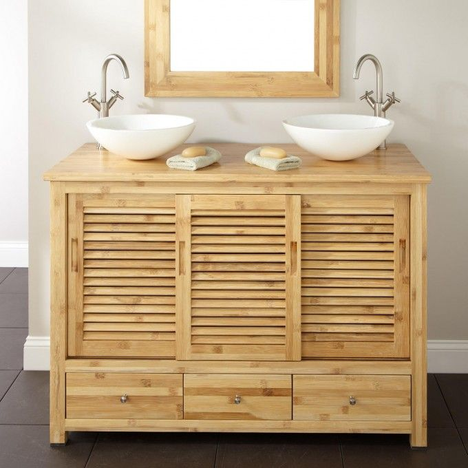 48 Arrey Bamboo Double Vessel Sink Vanity Double Sink Bathroom