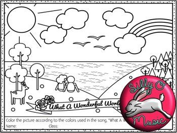 Louis Armstrong What A Wonderful World Coloring Page