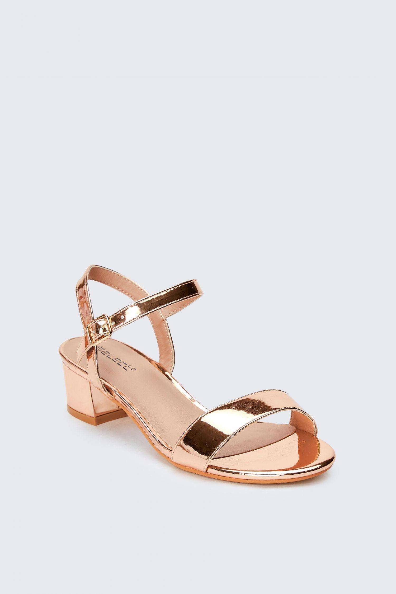 bbb6b90c5cdc4 Metallic Gold Low Block Heel Sandals - Gold Sandals | Select in 2019 ...