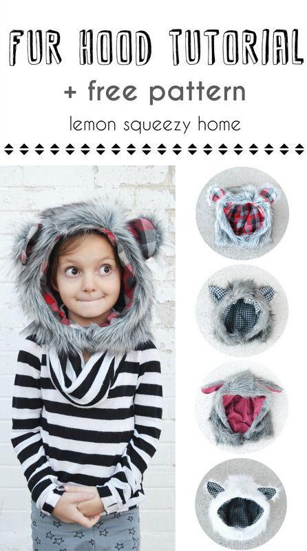 Faux Fur Hood Tutorial + Free Pattern in 6 Sizes! | Costura ...