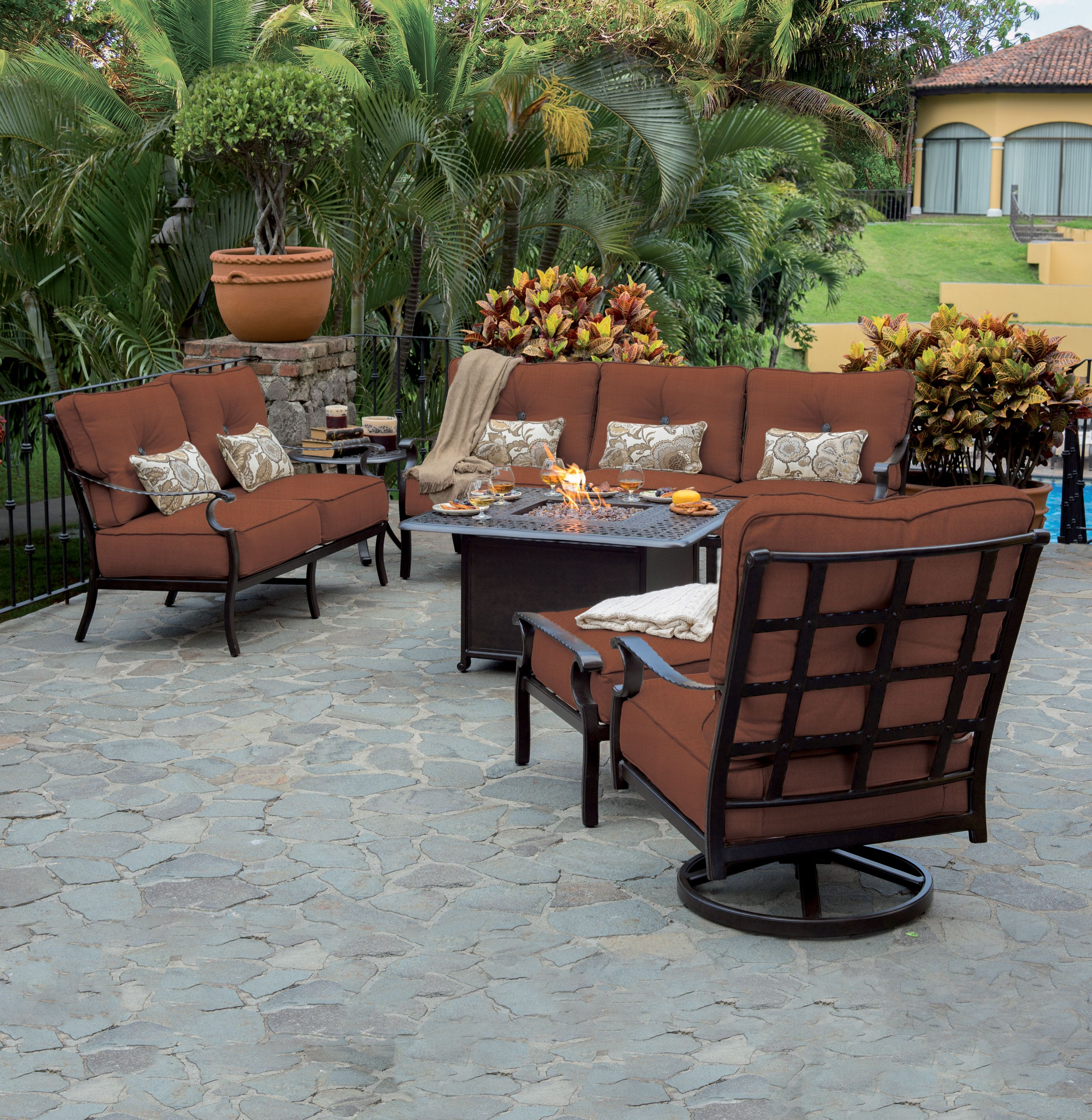 The Monterey Collection Offers Up Plush Deep Seating Comfort And Its Durable Aluminum Frame Is A Throwback To Patio Outdoor Patio Furniture Fire Pit Furniture