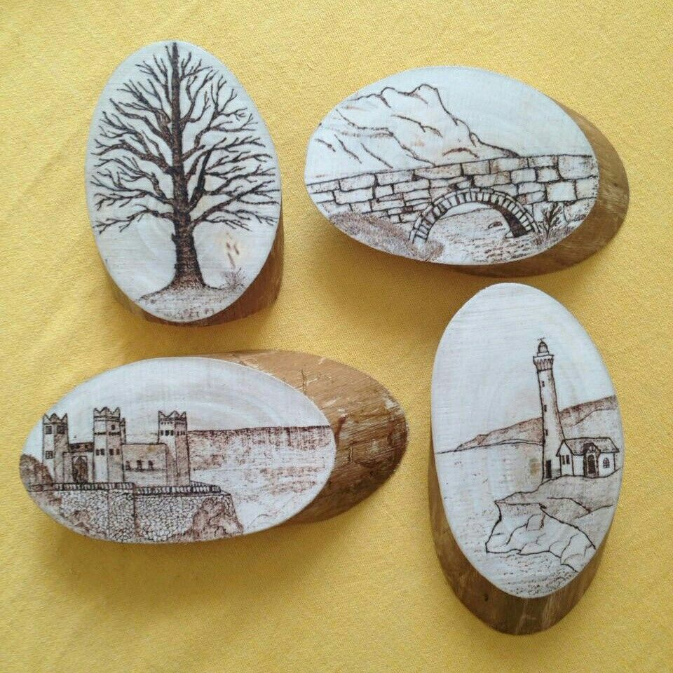 Small Collection Of My Woodslice Pyrography Drawing Woodslice