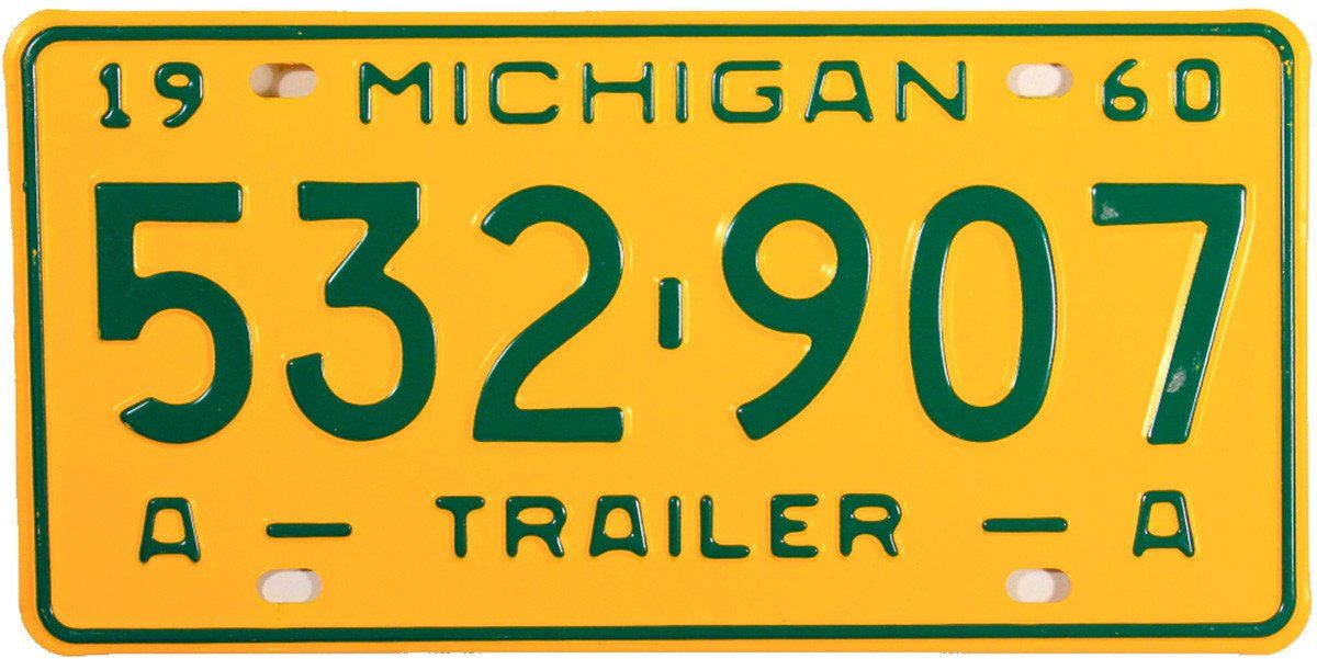 A Vintage NOS 1960 Michigan Trailer License Plate grading excellent plus. This unused antique 60 MI DMV Trailer Tag is yellow with green letters ...  sc 1 st  Pinterest & 1960 Michigan Trailer License Plate | License plates and Products