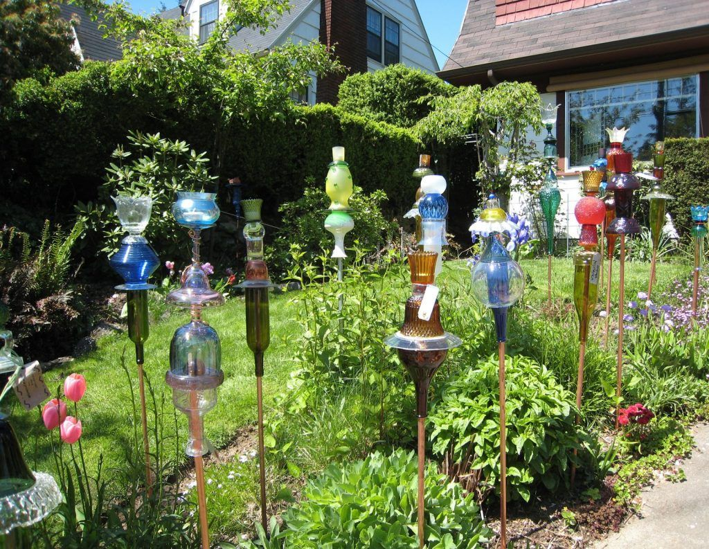 Recycled glass lamps note the upside down