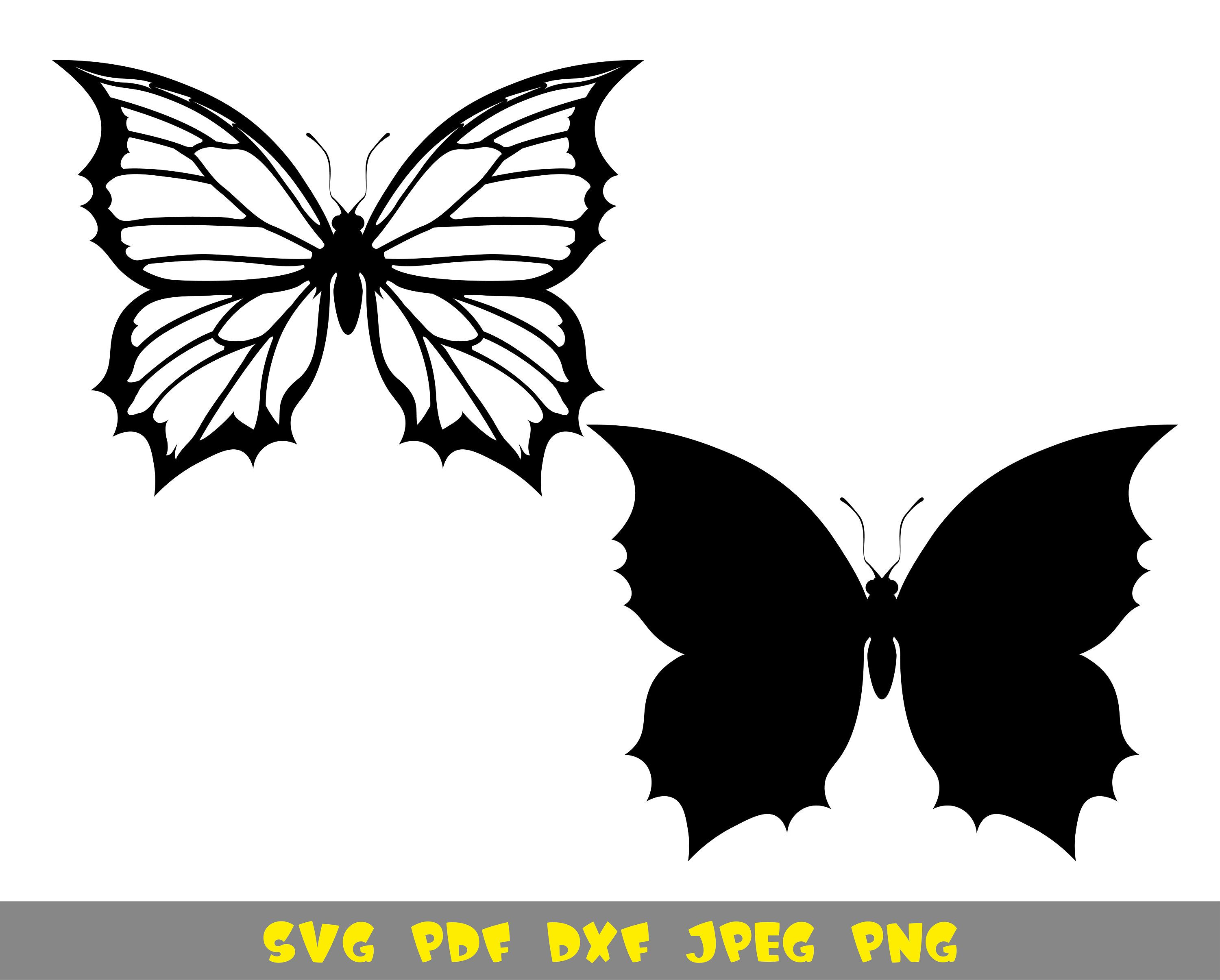 Butterfly Silhouette Svg Png Dxf Pdf Jpg Files In 2021 Silhouette Clip Art Butterflies Svg Flower Outline