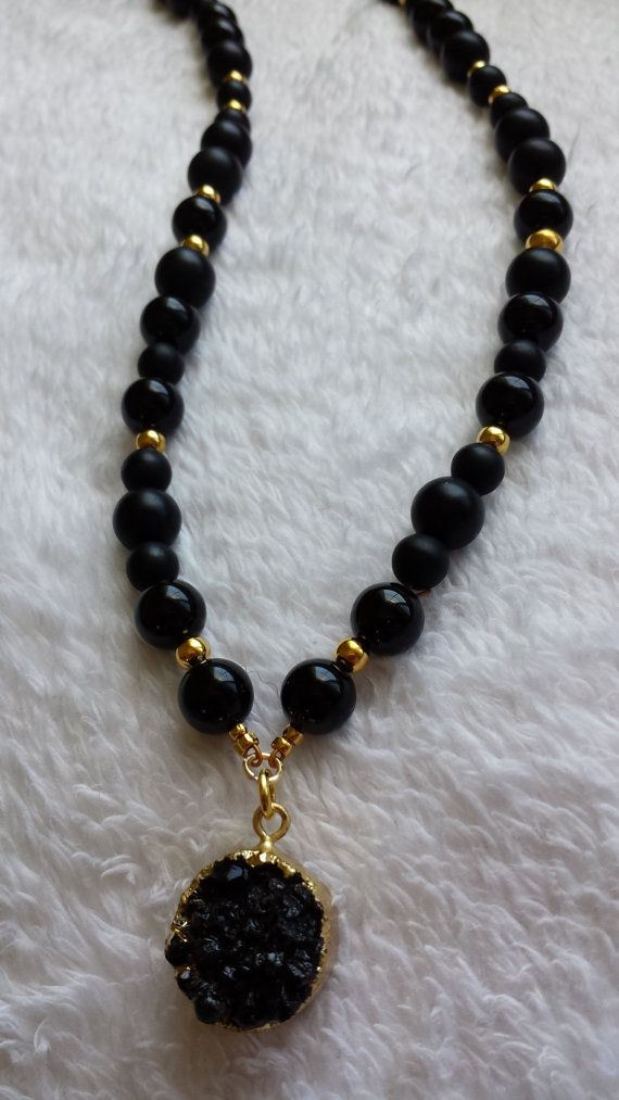 Black Druzy and Onyx Glamour Necklace by Tamagems on Etsy