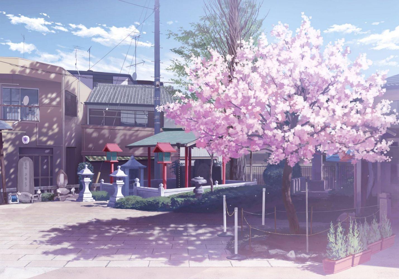 building cherry blossoms isou nagi nobody original scenic tree