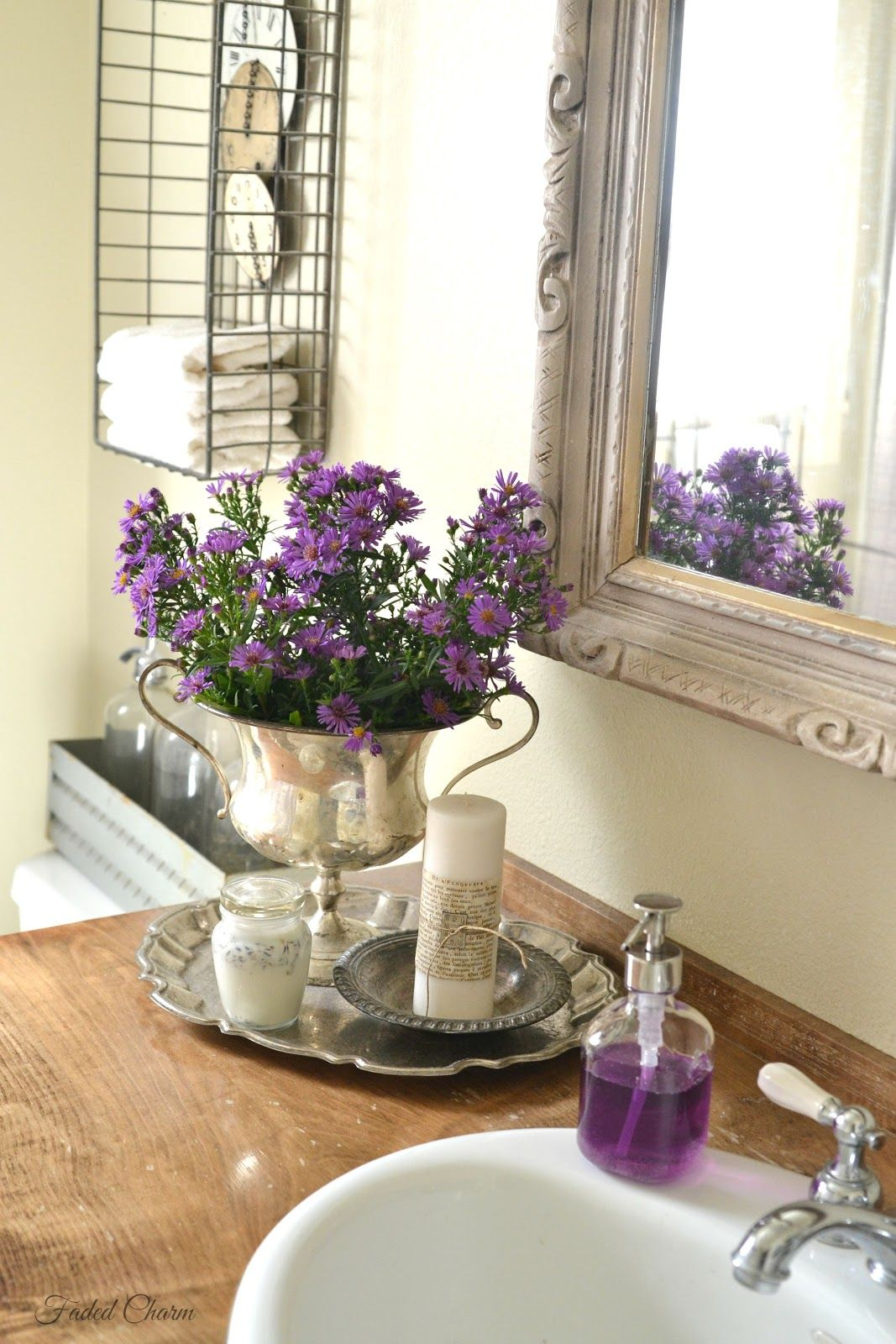 faded charm: ~end of summer blooms~ | lavender bathroom decor, purple bathroom decor, purple