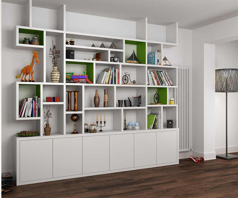 Mdf painted bookcase in the living room bookshelves for Modern living room shelving units