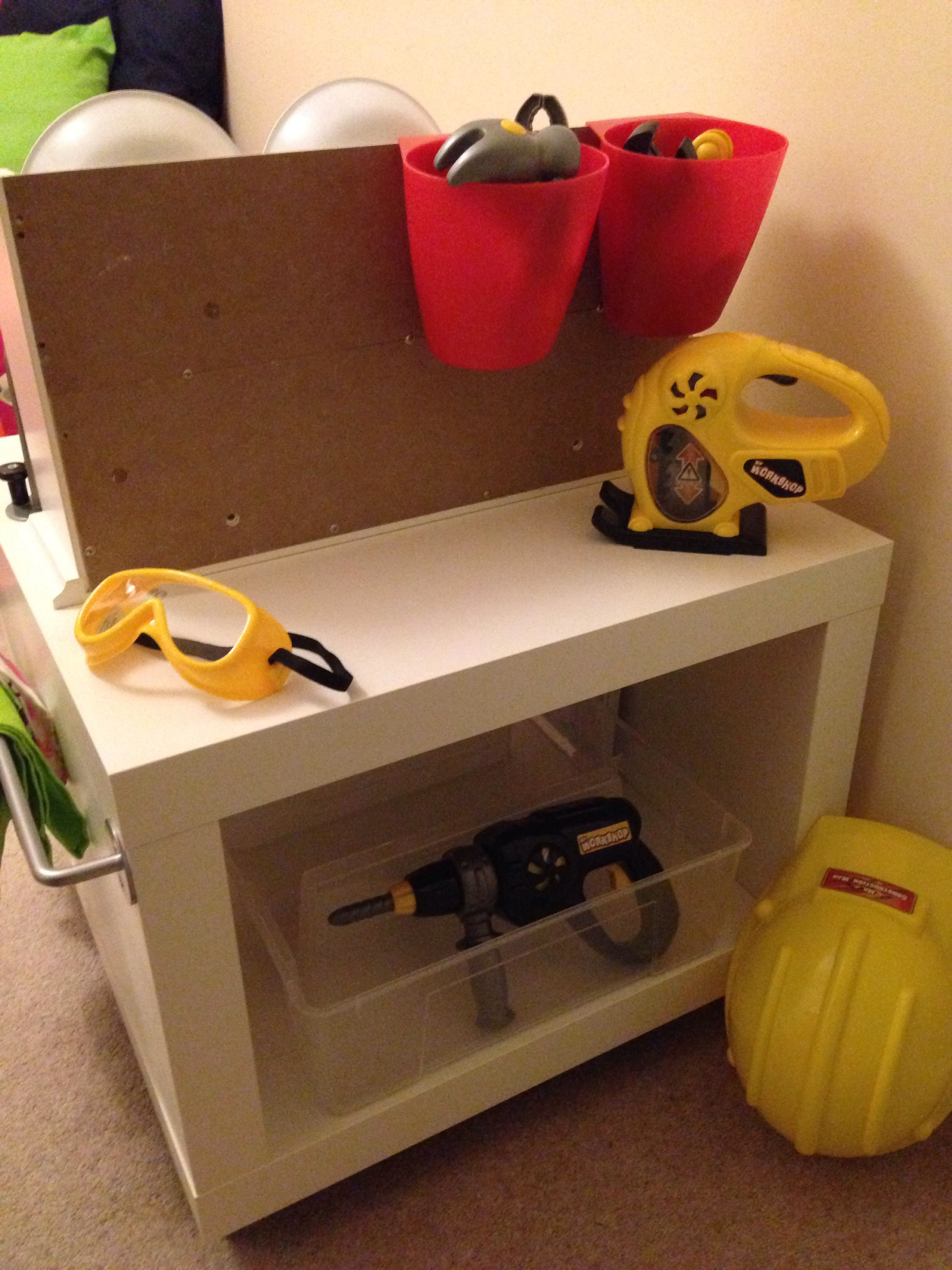 the finished play kitchen workbench made from an ikea lack table kinder ikea hacks. Black Bedroom Furniture Sets. Home Design Ideas