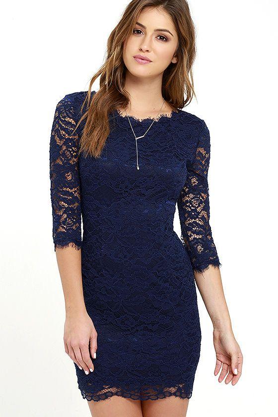 Make an Impression Navy Blue Lace Dress | Tight blue dress