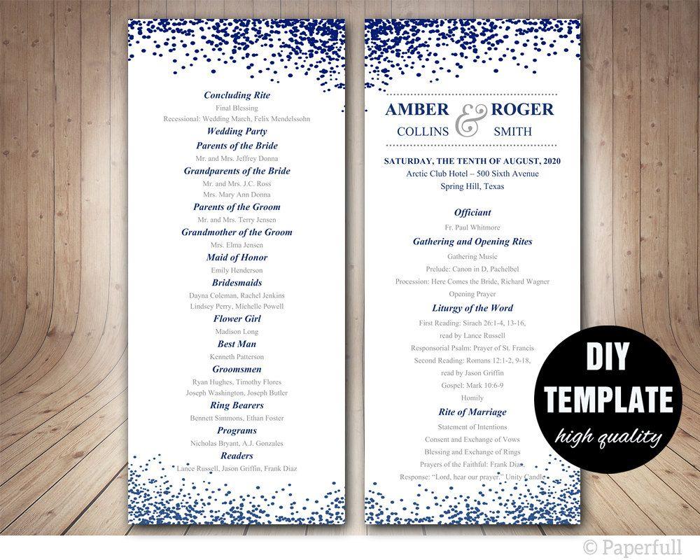Modern Wedding Program Template Navy Blue Double Sided