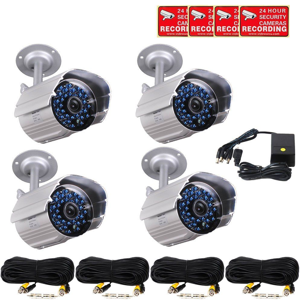 VideoSecu 4 x Outdoor Bullet Security Cameras Day Night 36 ...