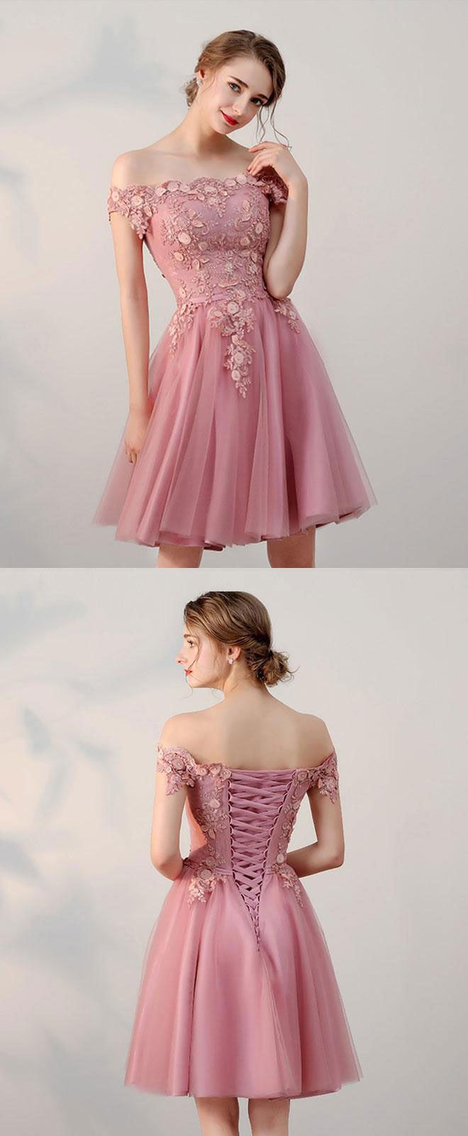 Pink lace tulle short prom dress, pink evening dresses | Vestiditos ...