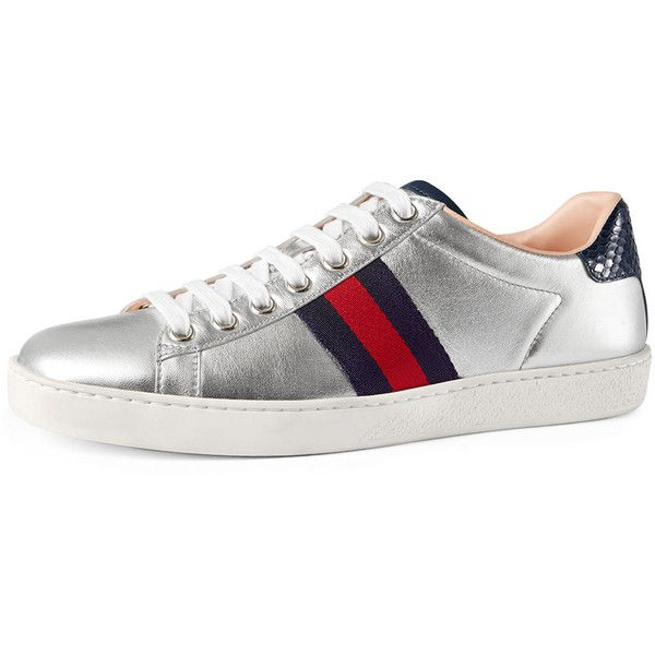 cd9a1dbf Gucci New Ace Leather Low-Top Sneaker ($630) ❤ liked on Polyvore ...