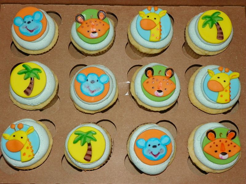 Baby Shower Cupcake Cakes | Fisher Price Jungle Animal Baby Shower Cupcakes