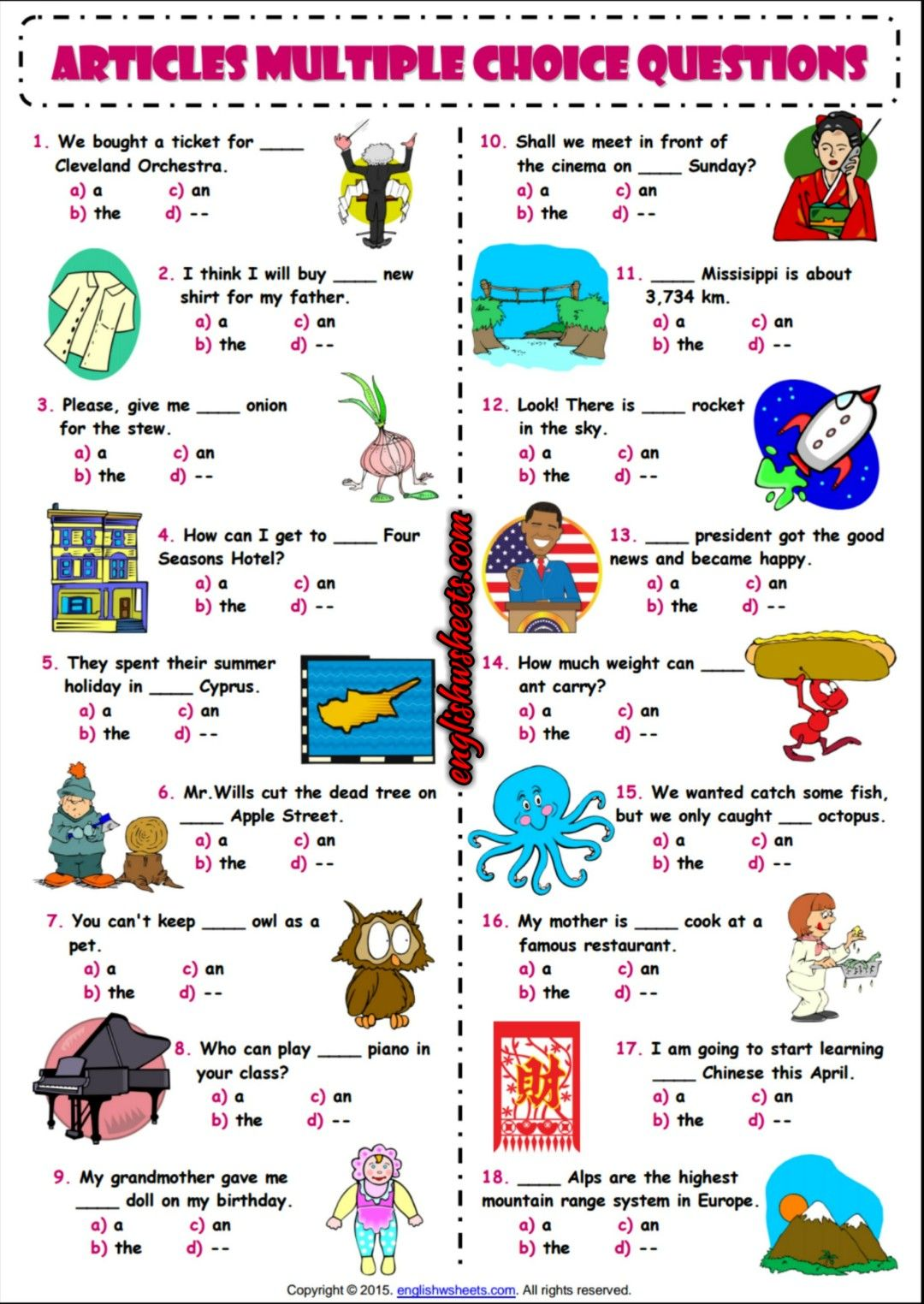 Articles ESL Printable Multiple Choice Questions Worksheet ...