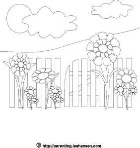 Picket Fence And Flowers Decorate This Printable Summer Coloring