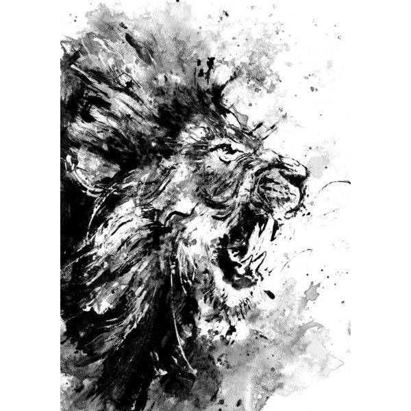 Lion Original Acrylic Painting Black And White Art Wild Life