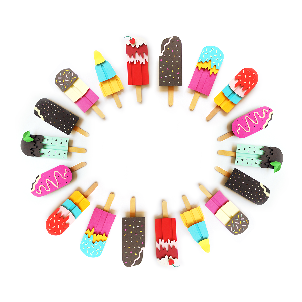 Paper Ice Lollies by Polly Lindsay - love these! Would make fun play ...