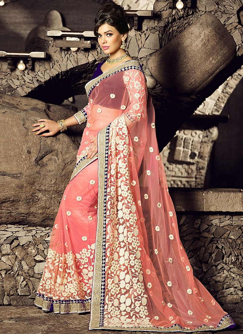 68020ca89cd Titillating Pink Net Saree. ETHNIC LIGHT PINK EMBROIDERED SAREE- SHOP ONLINE  ...