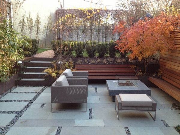 modern patio design with modern concrete stone floor and patio bench - Modern Patio Ideas