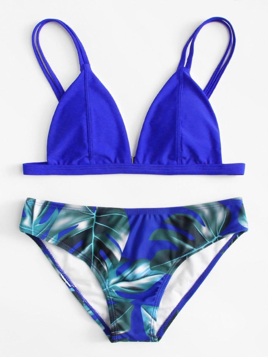 55818cb26d Palm Print Double Straps Bikini Set -SheIn(Sheinside)   Swimsuit ...