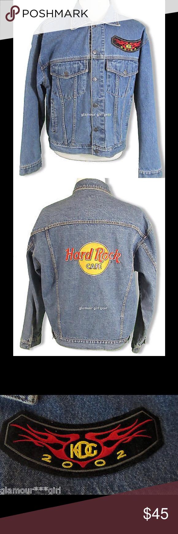 Hard Rock Cafe Biker Jacket Denim HOG 2002 LARGE Chest 50 length 24 hard rock cafe Jackets & Coats Bomber & Varsity