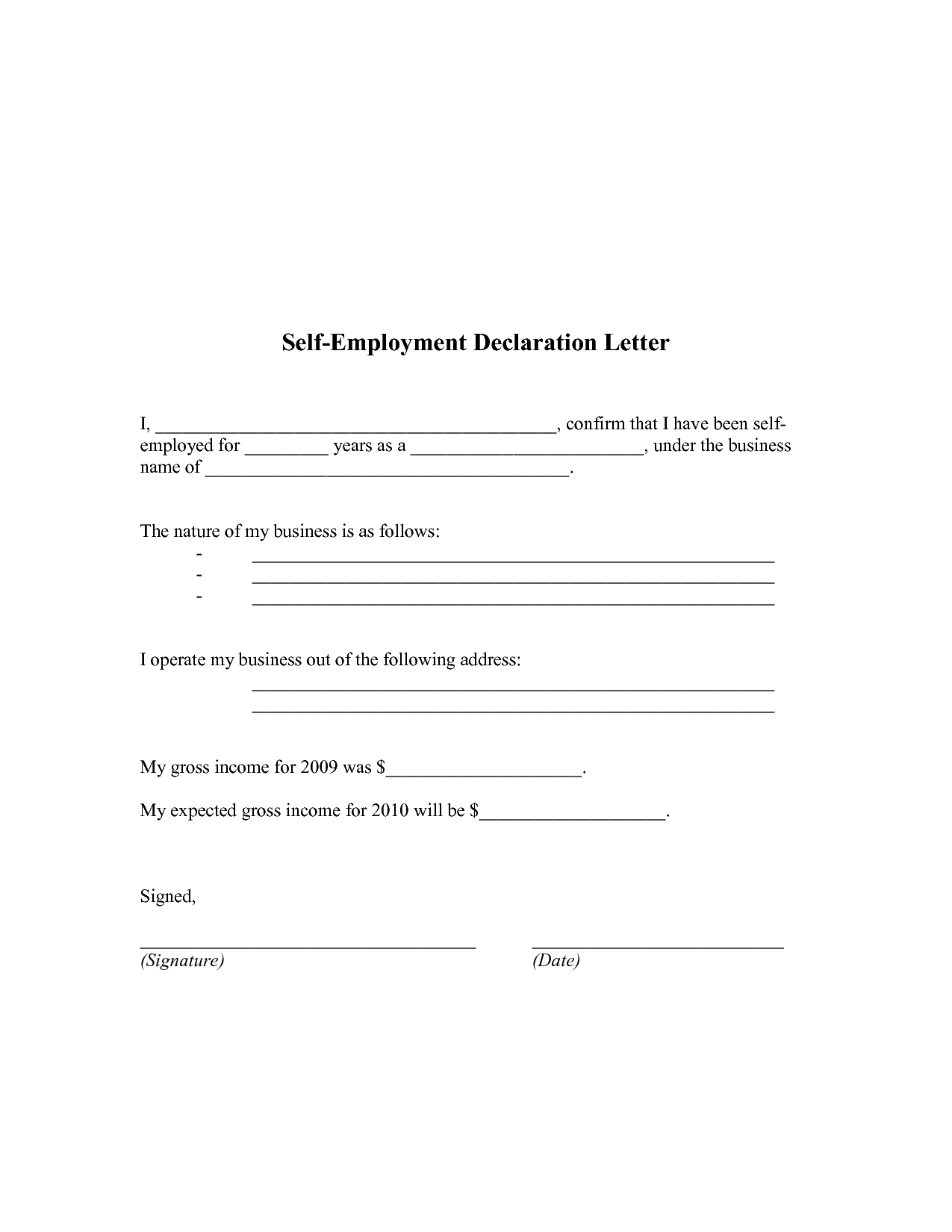 Self Employment Proof Of Income Letter Working At Home