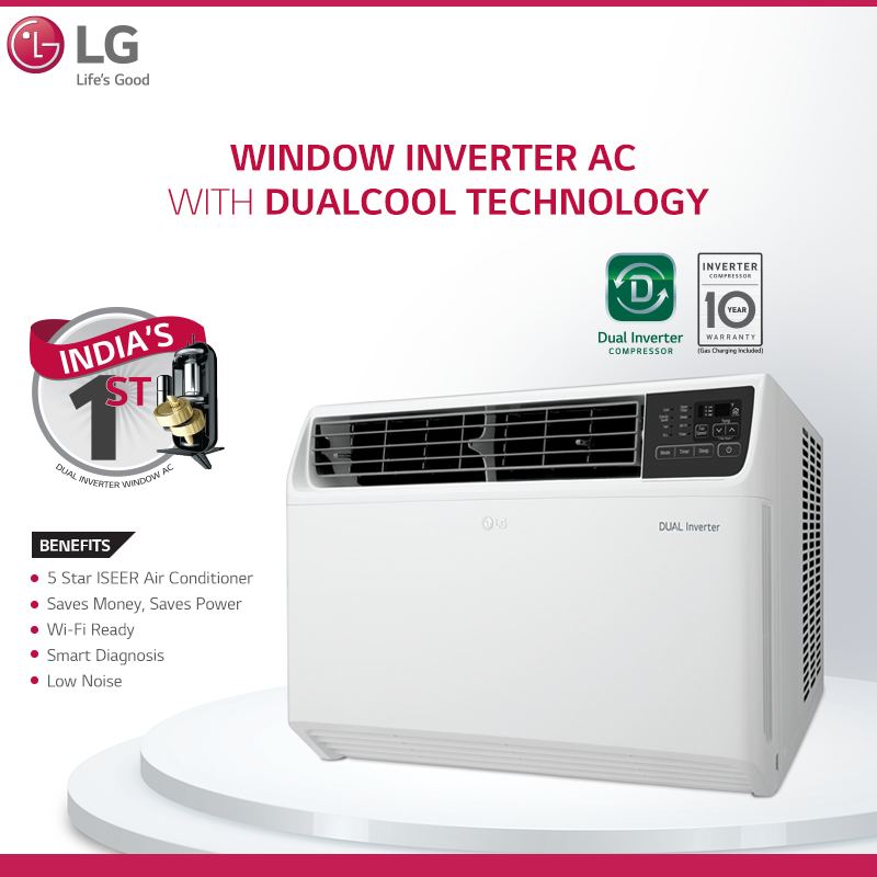 DUAL Inverter Window Air Conditioner with Ocean Black