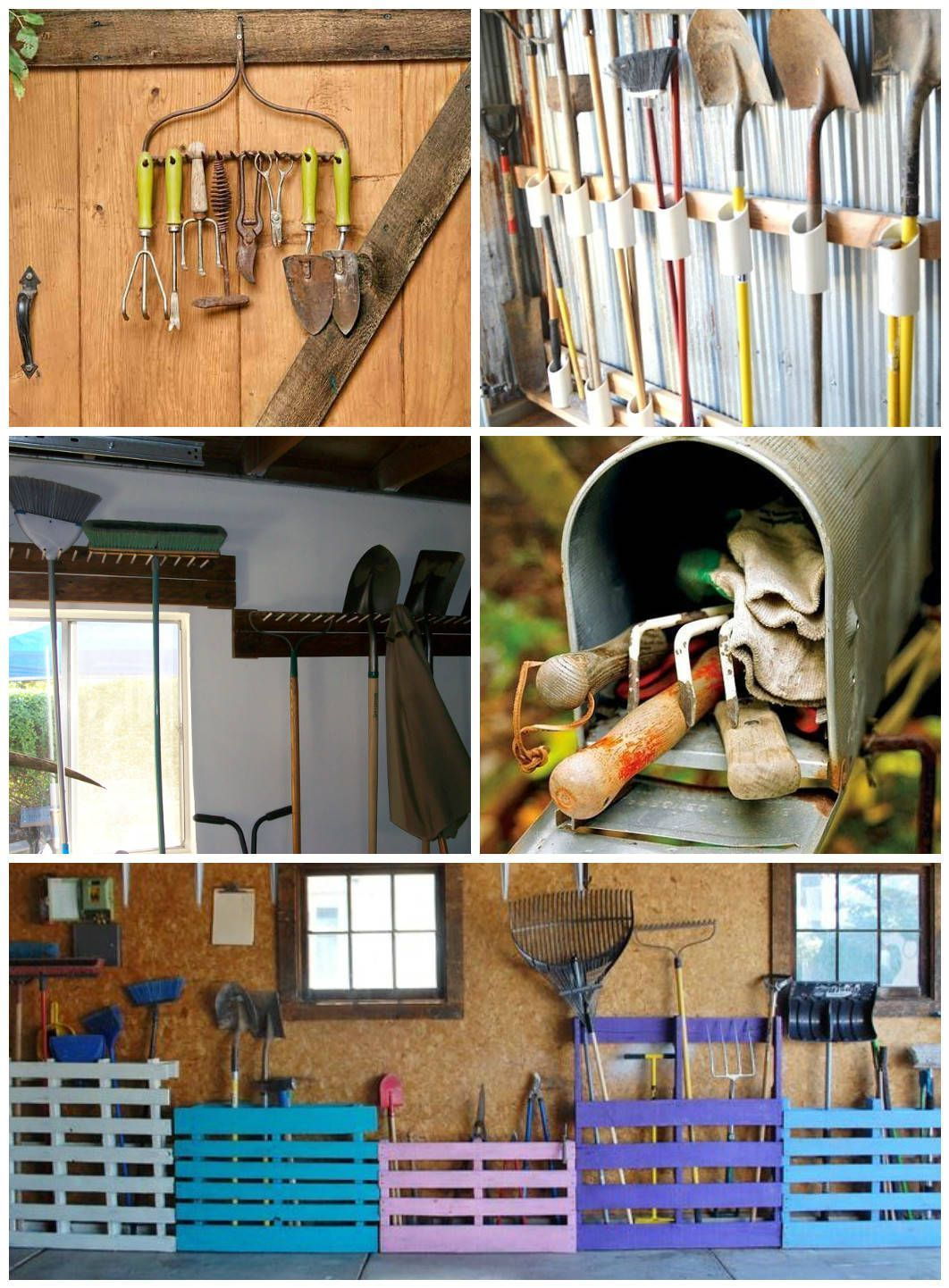 easy garden tool rack you can make from recycled materials
