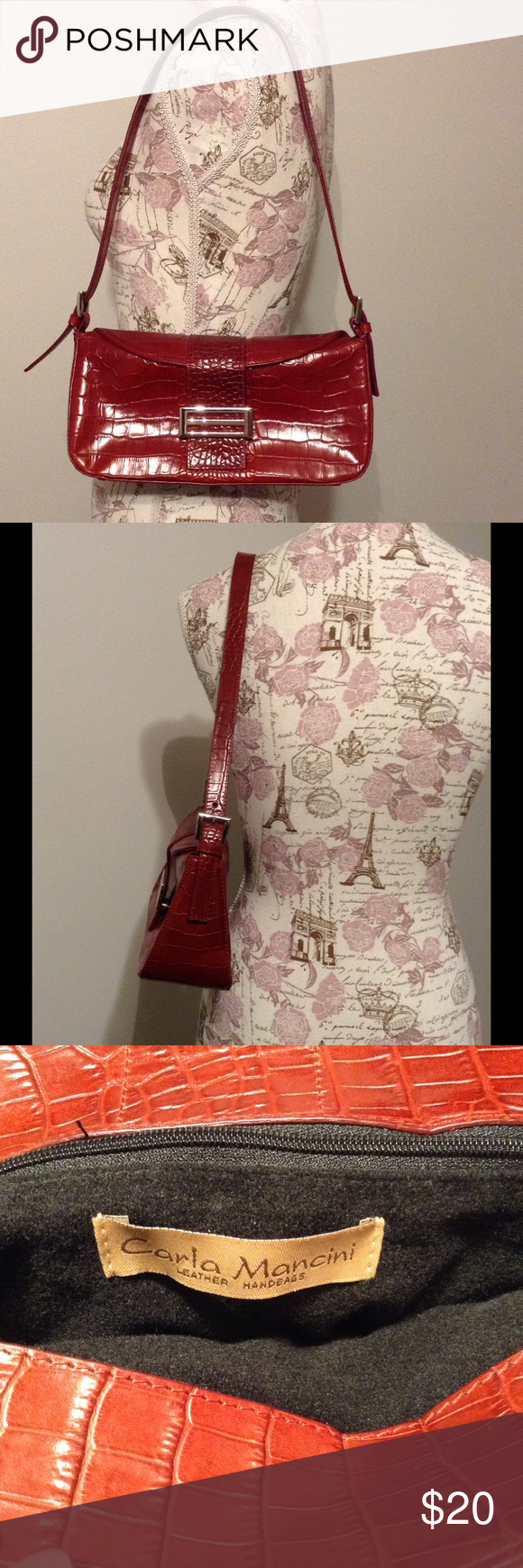 Red Carla Mancini leather shoulder bag In great condition aside from white marks on strap. Carla Mancini Bags Shoulder Bags