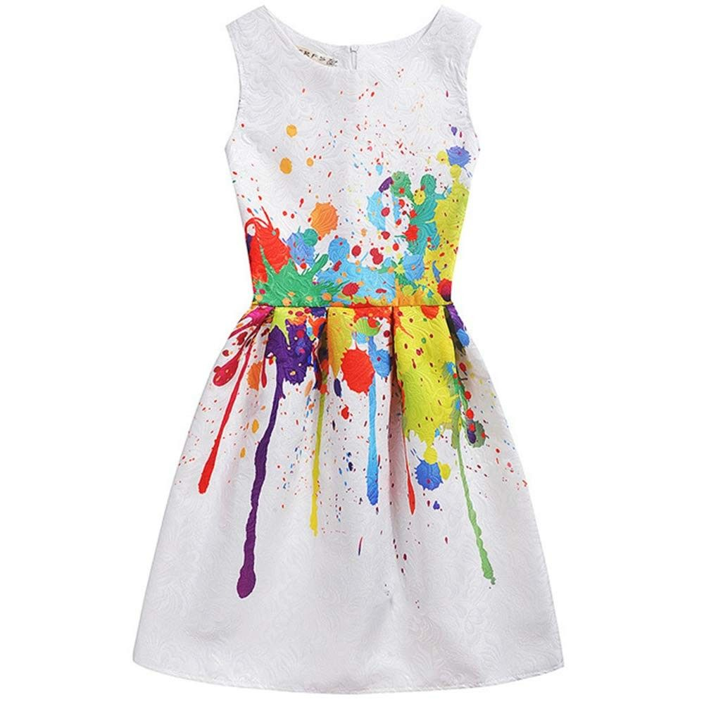 Girls Art Paint Dress Summer Sleeveless Swing Party Dresses Toddler Easter Clothes 6 11 Years Art Paint Cm1808mmx7m Girls Fancy Dresses Kids Party Dresses Toddler Party Dress [ 1000 x 1000 Pixel ]